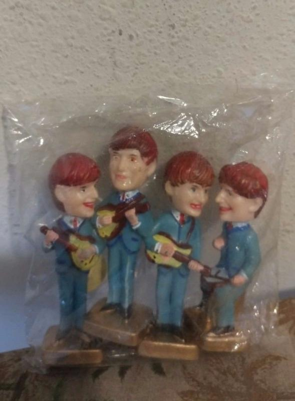 1960'S BEATLES NODDERS CAKE TOPPERS IN ORIGINAL SEALED CELLO PACKAGE