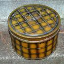 Antique Cakes Tin, Safe Telette Made in England, Olive Green Plaid Squares