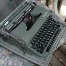 Olympia Typewriter DeLuxe SM3 Green  In Silver Retro Industrial Era Case