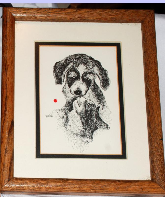 RABINDRA DANKS DOG CAT BLACK RED DOT SIGNED VINTAGE  In Wood Frame