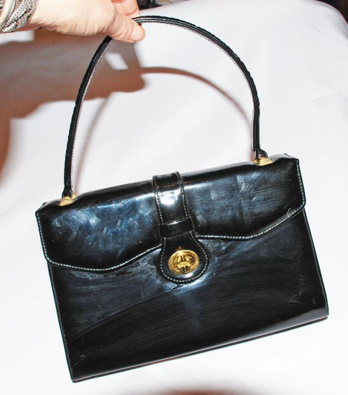 Black  Glossy Vinyl  Purse, Handbag Vintage  Trapezoid   Kelly Style