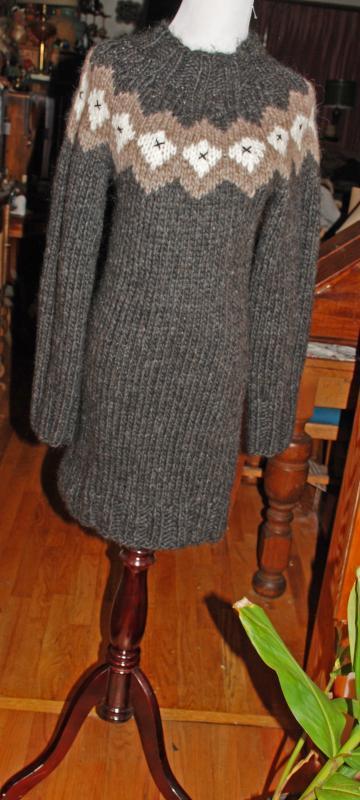 Icelandic Wool Hand Knit Sweater Dress