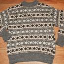 100% Wool Hand Knit Sweater from Denmark sz lg  Grey, Brown & Cream,