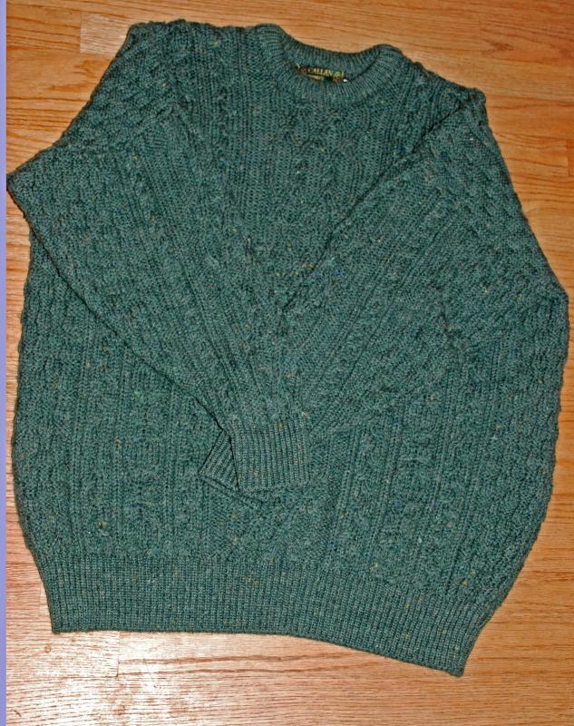 Callan County Irish Fishermen's Aran Knit Sweater, 100% Pure New Wool size XXL , Dark Green with flecks.