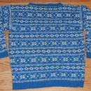 Hand Knitted Wool Sweater, Norwegian Scandinavian Style. size Med  blue white