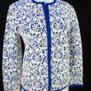 Catalina Jacquard Cardigan  Open Front Royal Blue White   Floral Knit  size 40 Vintage 60's
