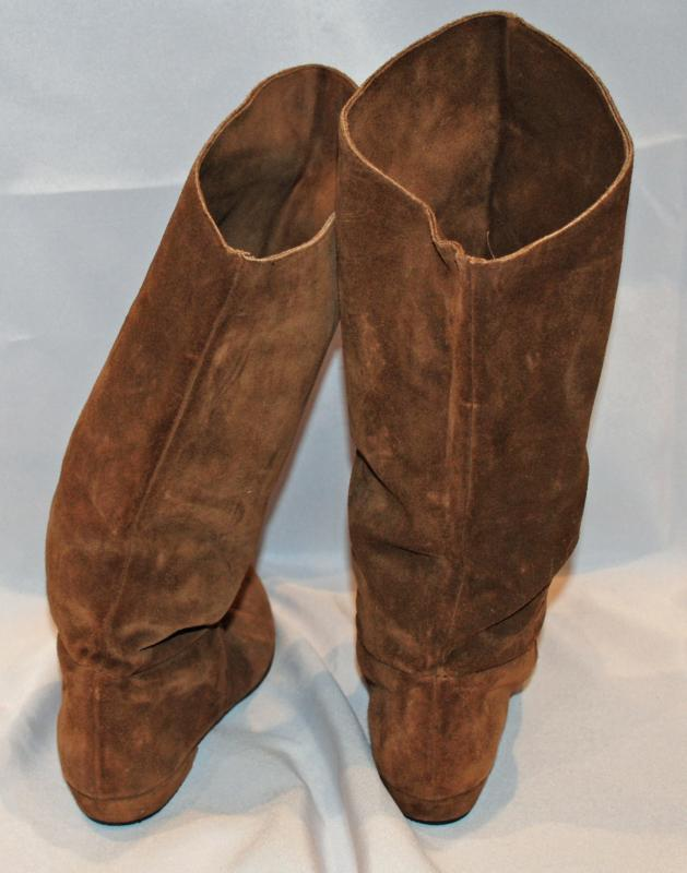 Suede Embroidered Boots, Slouch Style   size 8 med.