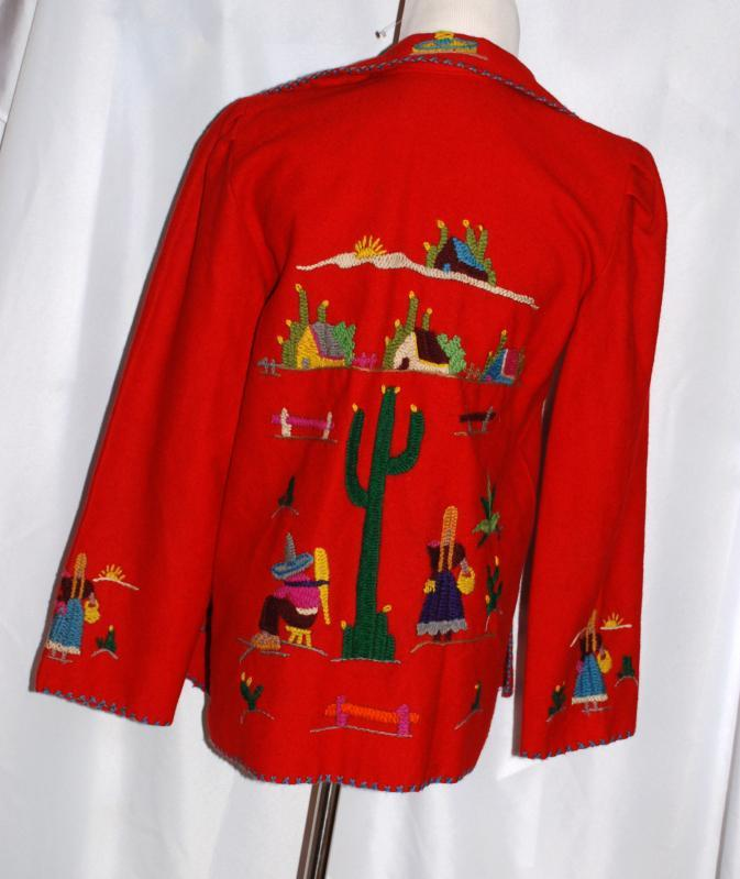 Vtg 1940s Mexican or Texas  Embroidered  Wool  Souvenir Folk Art Wool Jacket Styled by  Springer