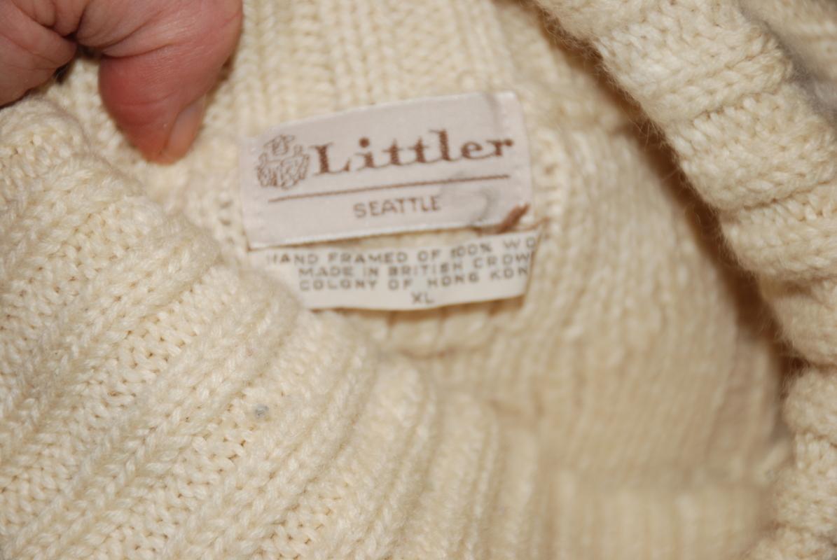 Irish Fisherman Style Pull Over Sweat by Littler of Seattle 100% Wool  XL