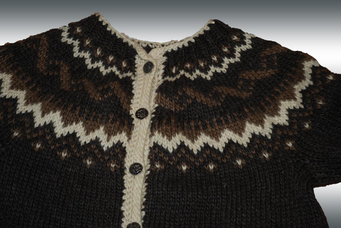 Vintage  Wool Cardigan Sweater Medium Hand Knit Icelandic Style