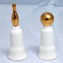 Gold Bowling Ball & Pin Trophies Salt & Pepper Shakers