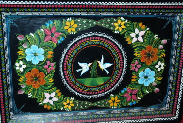 OLD Hand Painted Mexican Wooden Tray Toleware