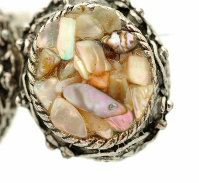 Mosaic Shell Clip On Earrings