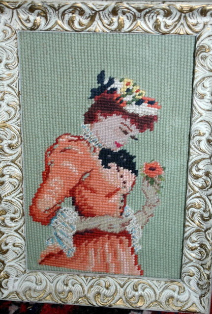 Framed  Vintage Needle Point Picture of Woman