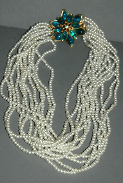 Multi Strand Pearl Necklace /Lucite Floral