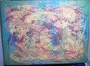 Daniel Lafontant Large Modernist Abstract Gouache on Canvas