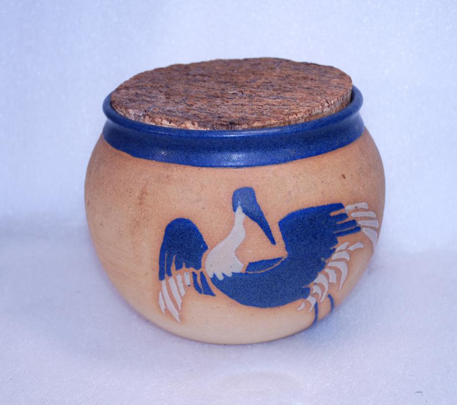 Patera Studio  Mid-Century  Thrown Stoneware Art  Pottery Shorebird Pot with Cork