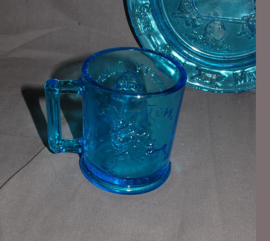 VTG TIARA Glass Margery Daw, Humpty Dumpty, See-Saw Aqua Blue Glass Nursery Rhyme Divided Plate & Cup