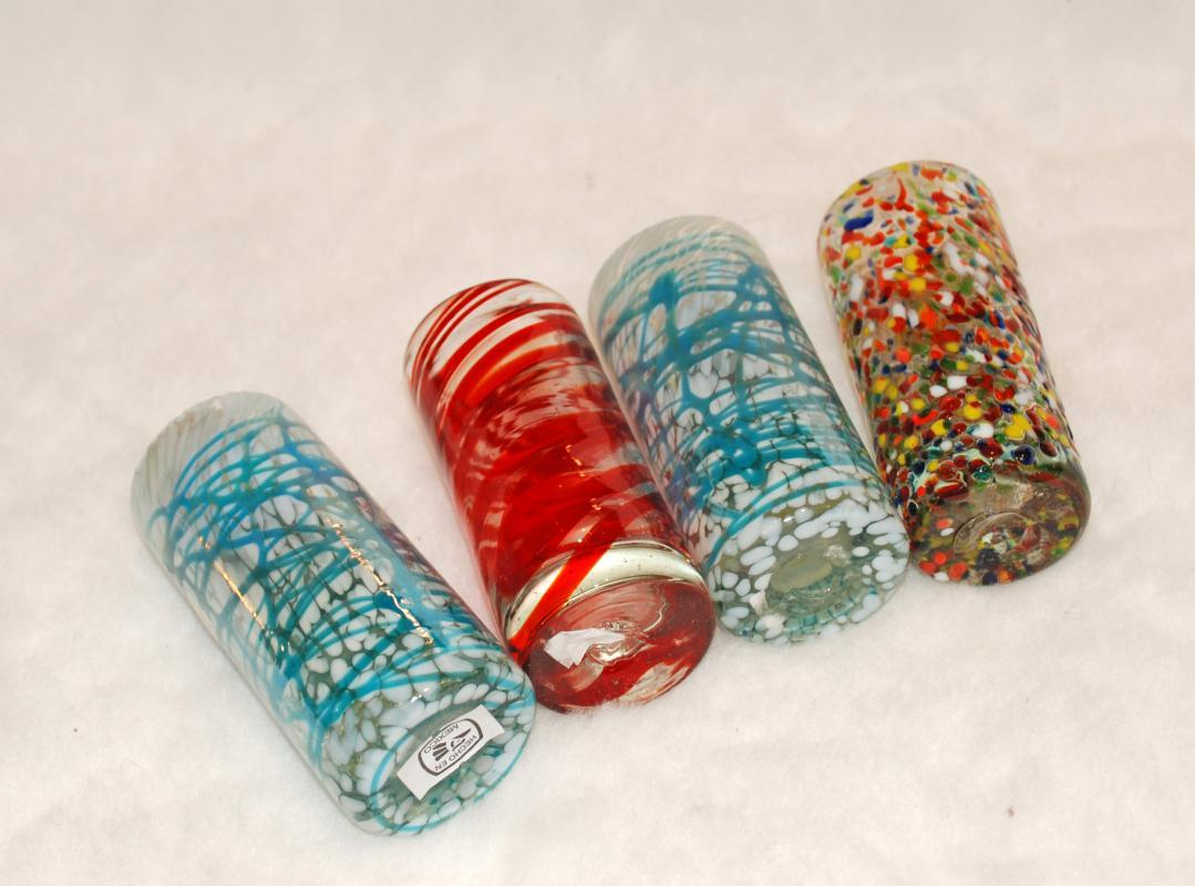 4 Mexican Blown Glass Shot Glasses