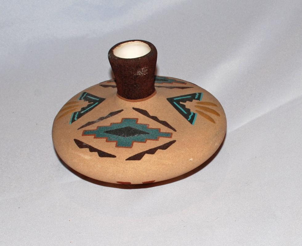 Native American Pottery  Sand Finish Vase Pot