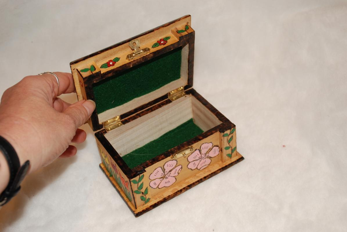 Wood Carved Painted Easter Box