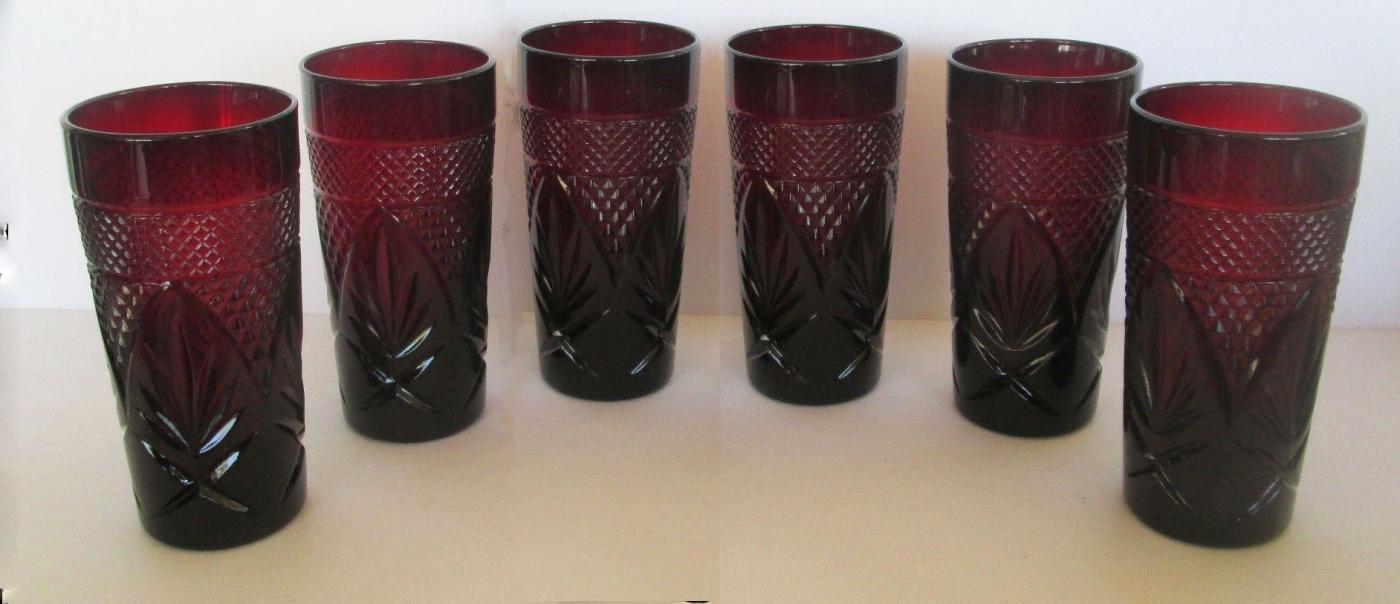 Set of Six LUMINARC RUBY RED CRISTAL D'ARQUES DURAND TUMBLERS 12 OZ PRESSED GLASS