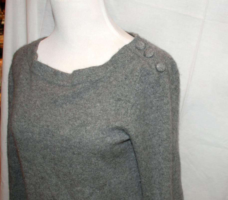 Cashmere Sweater Neiman Marcus Exclusive  Retro Style Gray  Size Large