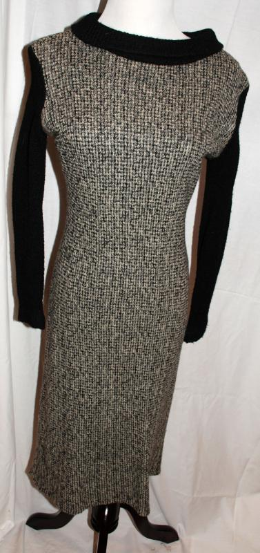 Woven Tweed Dress Black White, Gray Lined with Knit Sleeves and Collar size 11