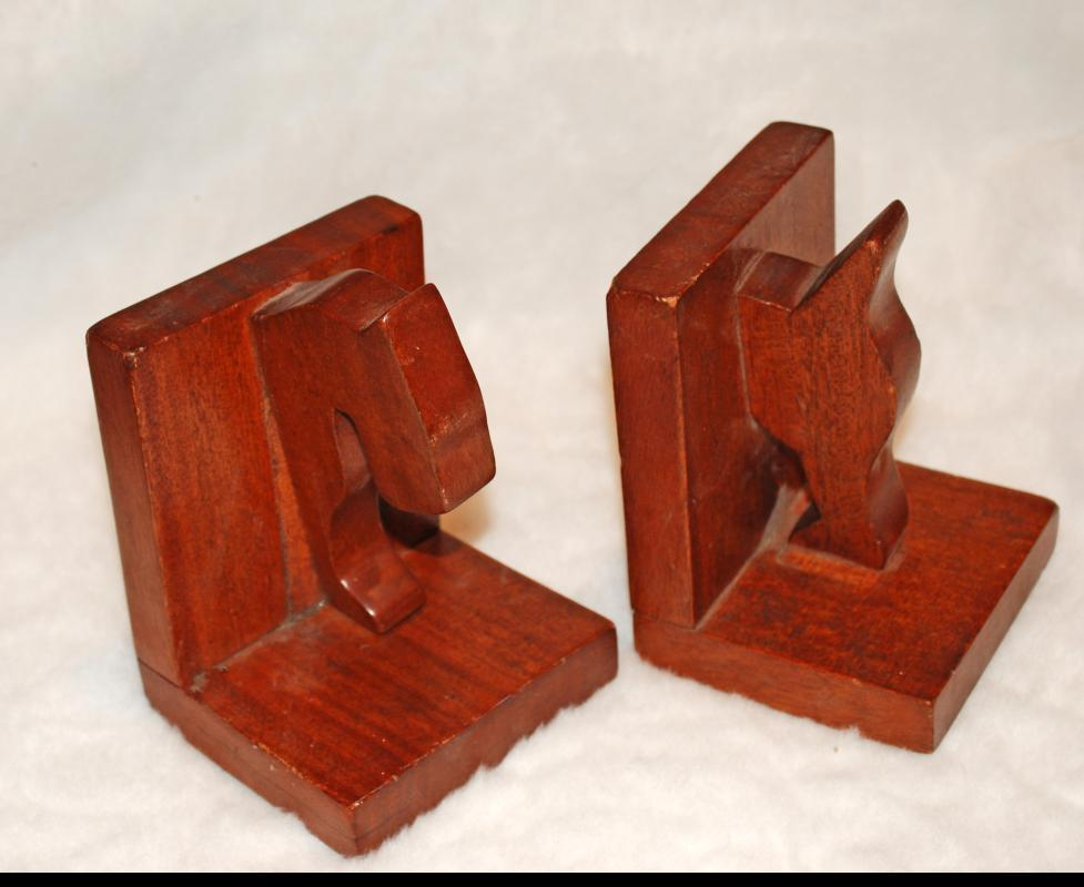 Mahogany Scottie Dog Book Ends, Hand Carved Folk Art