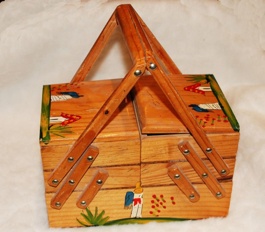 Wooden Folding Accordion Sewing Box Basket   Vintage Hand painted Mexican Folk Art