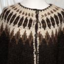 Icelandic Wool Cardigan Sweater, Brown & Cream with Stamped Metal Buttons