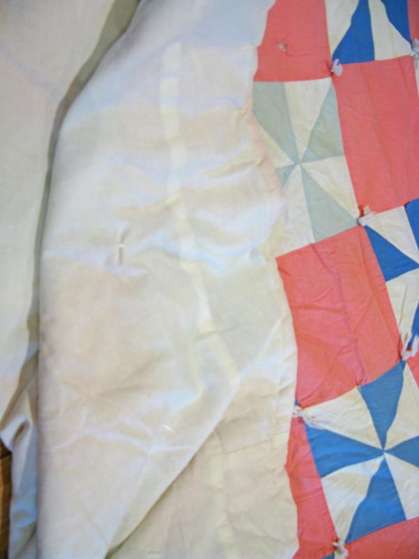 Vintage Quilt  Half Square Triangle Block Pink & Blues  78 x 64