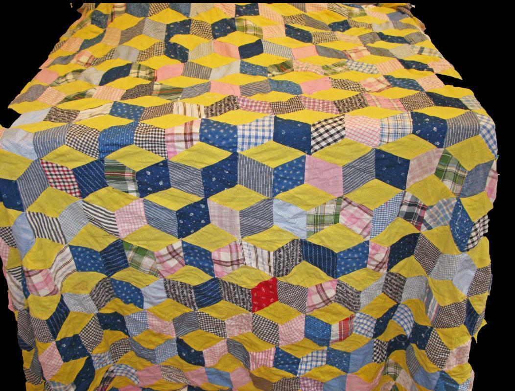Quilt Top 3-D Tumbling Blocks 70 x 72