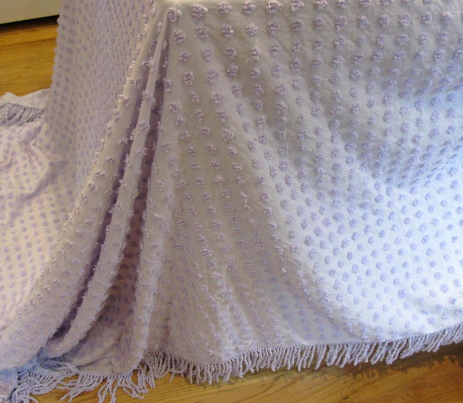 Lavender Chenille Bedspreaf  Pops Vintage J.C. Penny's Full Size
