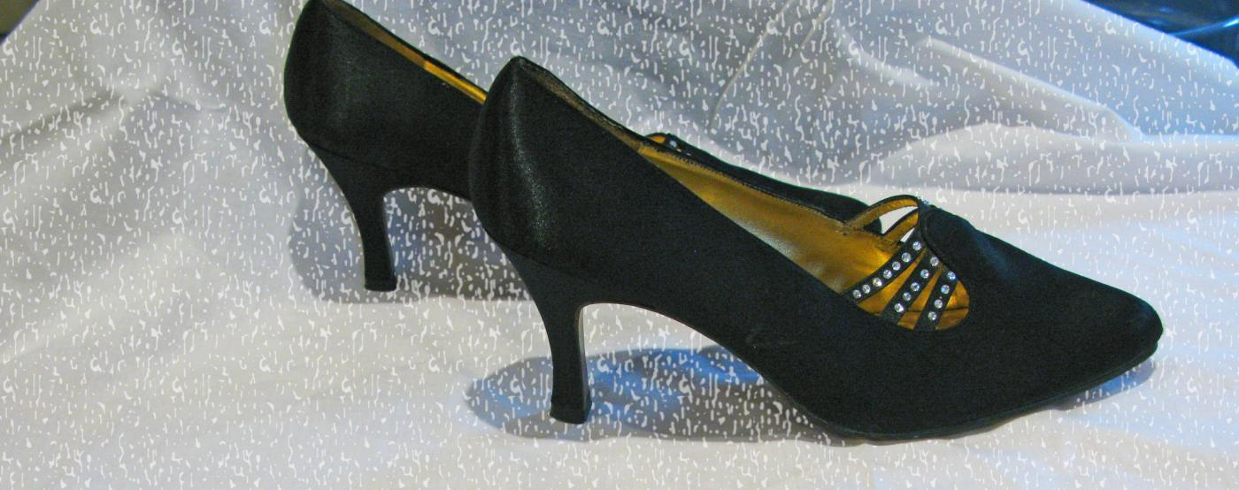 Black Satin, White Rhinestone Pumps, High Heals The PM  collection by 9.2.5 shoes 8.5 Medium