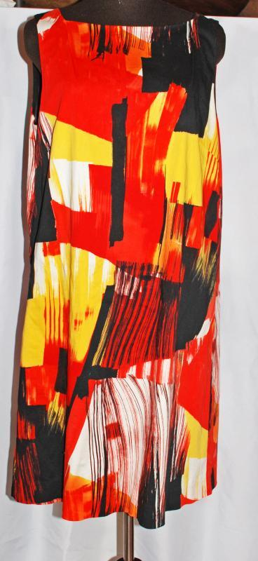 Abstract Sunset Shift Designer Boat Neck  Dress  SoCa ST. JOHN Cotton Black Orange Red sz  14