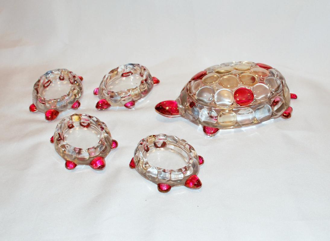 WESTMORELAND GLASS TURTLE CIGARETTE BOX & 4 MATCHING ASHTRAYS CRANBERRY Flash #1000 Thousand Eye  Pattern