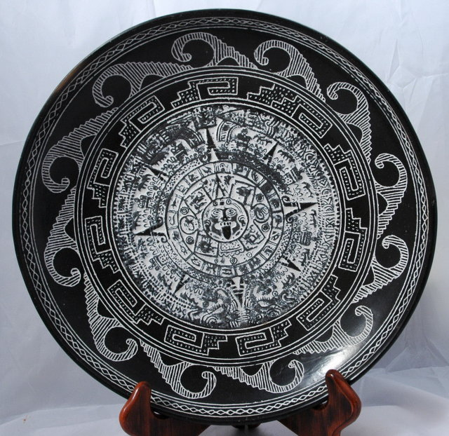 Mexican Aztec Black Pottery Calender Footed Dish *Price Reduced!*