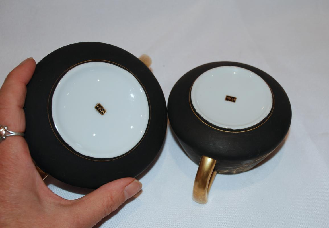 Japanese  Kutani  Creamer and Sugar Bowl  Black Matte Hand painted Gold Details  Vintage