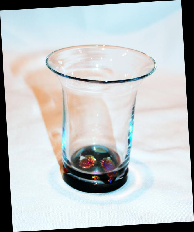 Dichoric Dots Stemless Wine Glass Hand Blown Art signed and dated  by  Wileyware   Art Glass , Local Artist Seattle