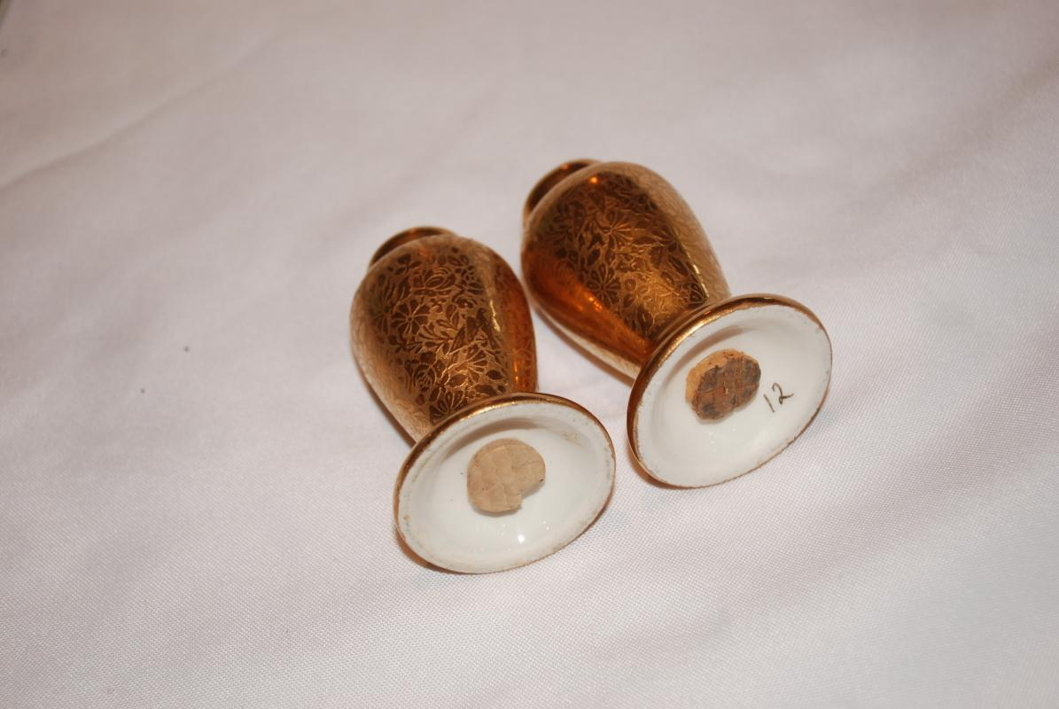 Pickard Gold Gilded  Porcelain Salt & Pepper Shakers with Rose, Daisy and Dove Pattern
