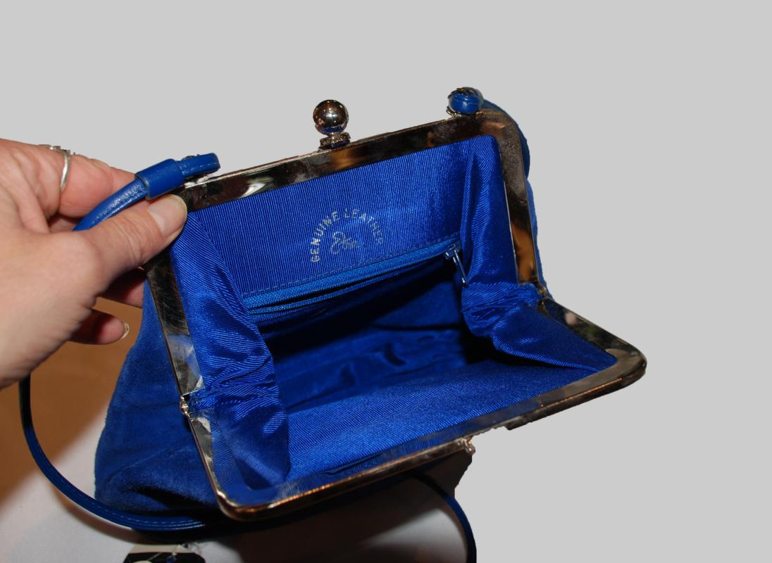 Etra Handbags Blue Suede Purse , Shoulder Bag Vintage. New with original tags Never used