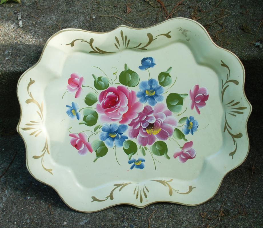 Hand Painted Tole Ware Metal Tray , Roses 14.5