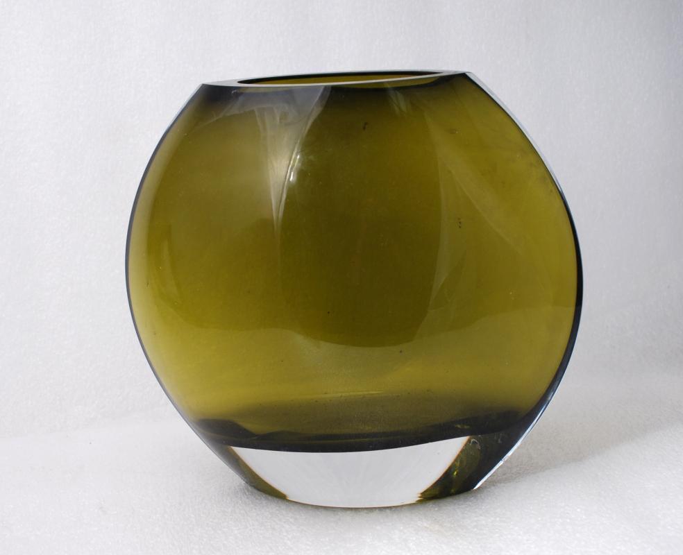Dark Olive Green Blown Glass Round Disc Vase , modernist mid-century,
