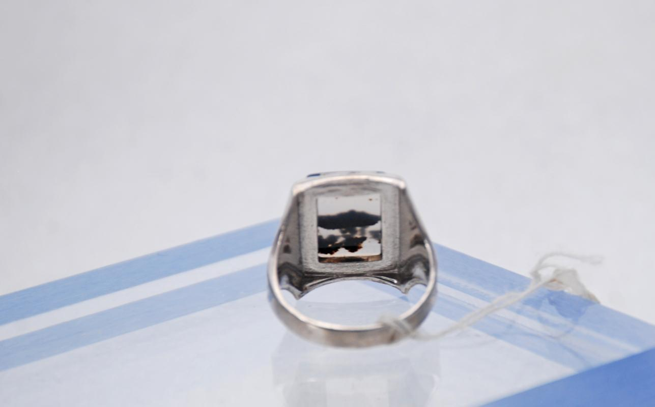Montana Agate & Sterling Ring, Handcrafted size 9 Square Stone