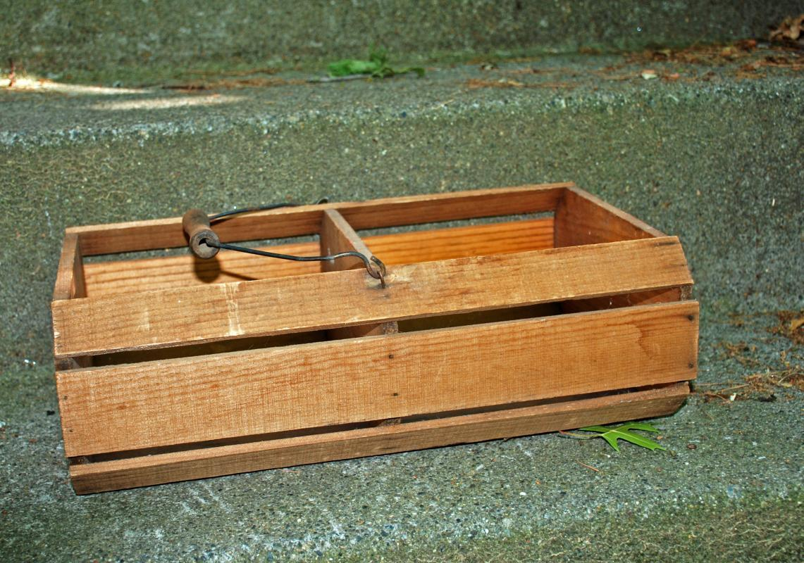 Oak Wood  Slat  Divided Basket with Bail Handle , Old Vintage Primitive Rustic  Farmhouse