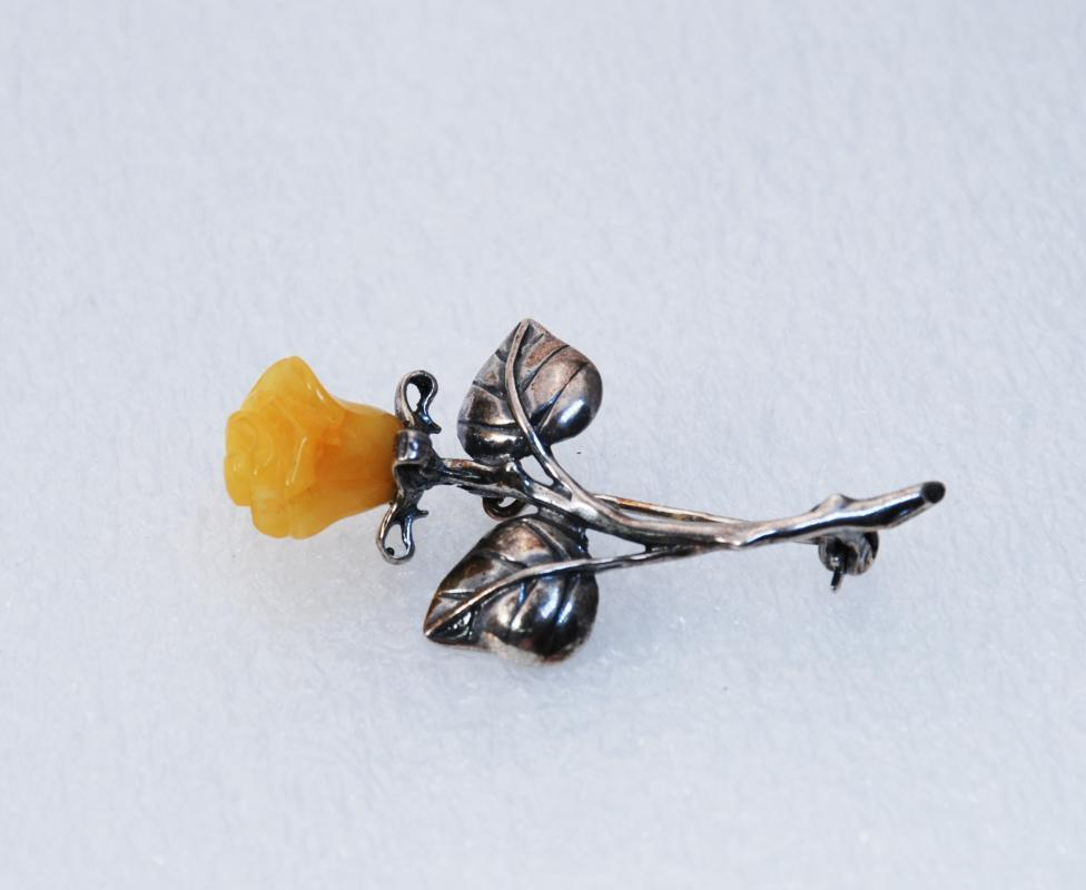 Carved Bakelite Yellow Rose & Sterling Silver Pin , Brooch Butterscotch Bakelite