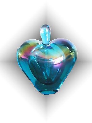 SIGNED GLASS EYE STUDIO IRIDESCENT HEART  PERFUME BOTTLE  WITH STOPPER