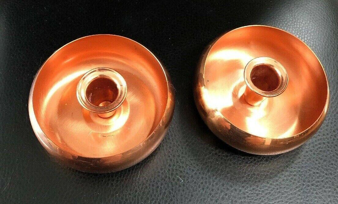 Pair of  VINTAGE COPPERCRAFT GUILD ROUND TAPER CANDLE HOLDERS   4.5