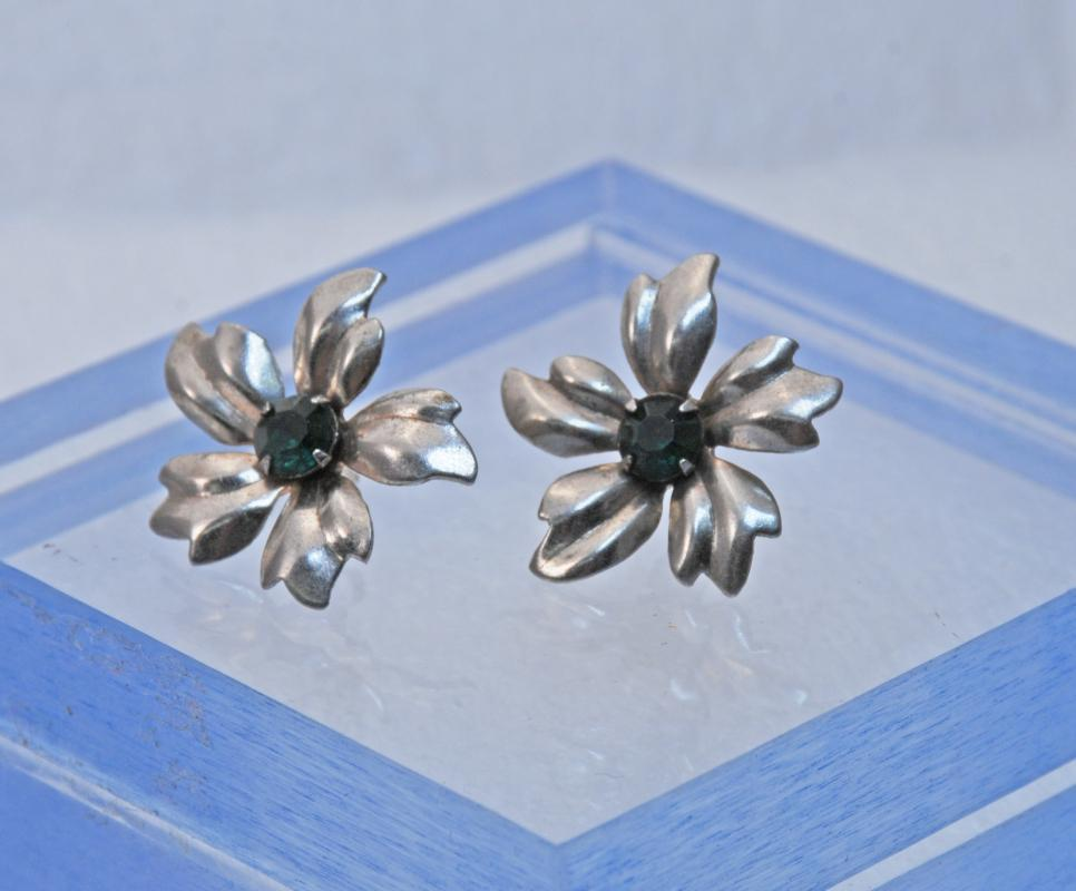 Sterling Silver and Faceted Green Stone Flower Earrings